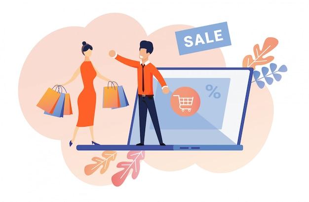 Vendeur offrant article avec bon escompte en vente