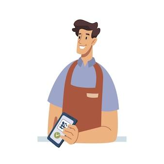 Vendeur sans contact avec paiement nfc d'application de téléphone portable avec vecteur de dessin animé plat de code qr