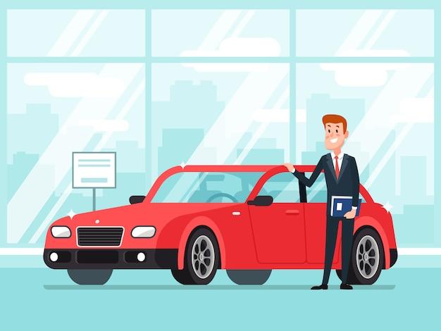 Vendeur de voitures dans la salle d'exposition