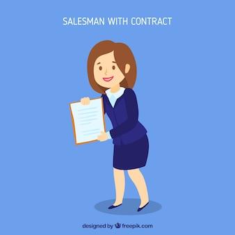 Vendeuse avec contrat