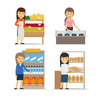 Vendeuse avec fruits et pain