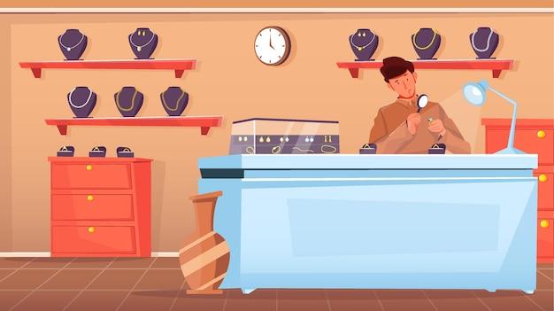 Vendeuse regardant la bague à travers une loupe à la bijouterie plate