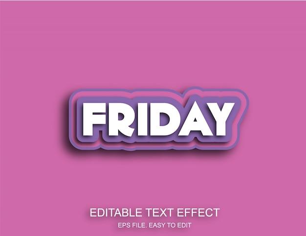 Vendredi effet de texte de couleur pourpre