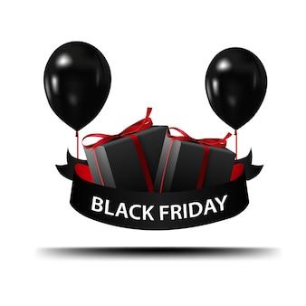 Vendredi noir. bannière avec des ballons noirs et des cadeaux