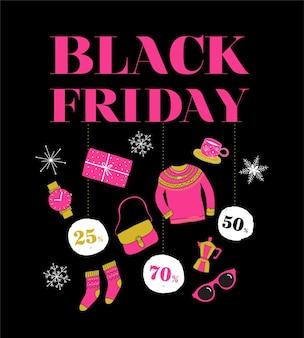 Vendredi noir, bannière de vente de noël, modèle d'affiche