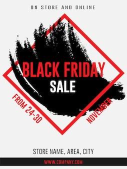 Vendredi noir bannières d'annonce web de vente flyer modèle de trait de pinceau