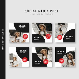 Vendredi noir collection de modèles de post instagram