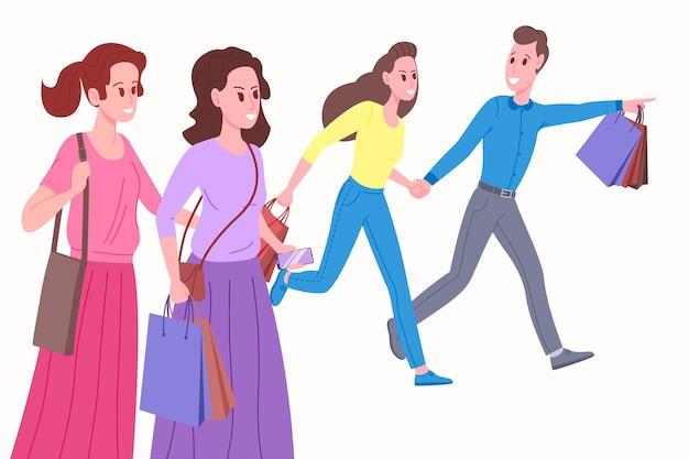 Vendredi noir ou concept de grande vente. bannière ou flyer de vente saisonnière sur les médias sociaux. les jeunes, les amis, font leurs courses avec des sacs. illustration vectorielle en style cartoon plat. contexte pour smm.