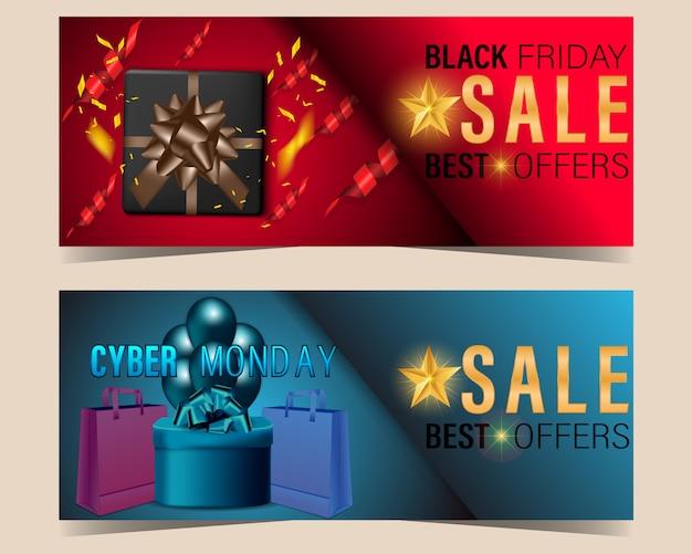 Vendredi noir et cyber lundi vente bannière définie fond concept