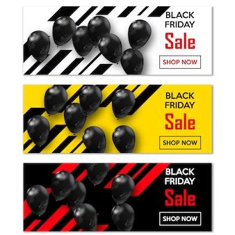 Vendredi noir. définissez des bannières pour votre conception avec des ballons de la journée mondiale de la vente.