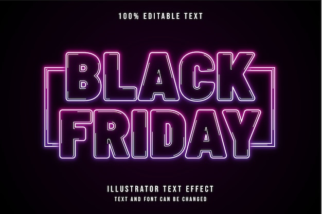 Vendredi noir, effet de texte modifiable 3d effet de texte néon violet dégradé rose