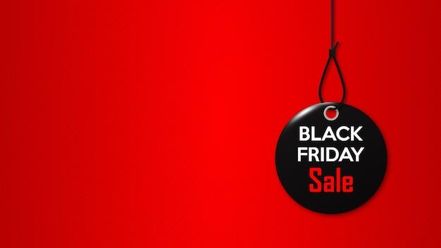 Vendredi noir. étiquette noire sur la corde. bannière promotionnelle pour une réduction spéciale pour les fêtes.