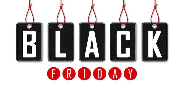 Vendredi noir sur fond blanc. shopping de vacances. bannière horizontale. étiquette de magasin. offre de bannière. vente du vendredi noir.
