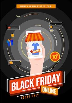 Vendredi noir pour la brochure de la boutique en ligne
