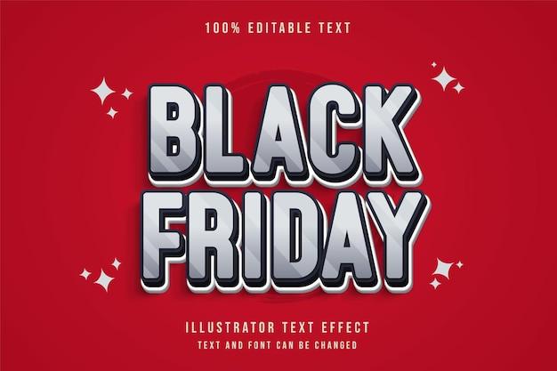 Vendredi noir, style de texte de dégradé bleu effet texte modifiable