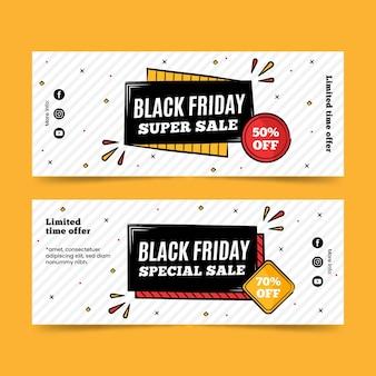 Vendredi noir super vente bannières dessinées à la main