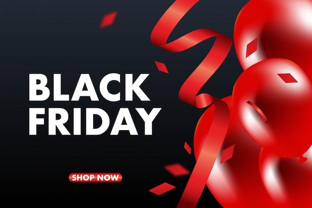 Vendredi noir vente bannière fond de vecteur, ballons rouges et noirs et conffeti.