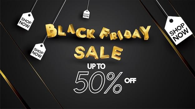 Vendredi noir vente bannière mise en page conception design fond noir et or bannière offre de réduction de 50%