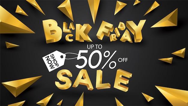 Vendredi noir vente bannière mise en page conception fond noir et or 50% remise insigne