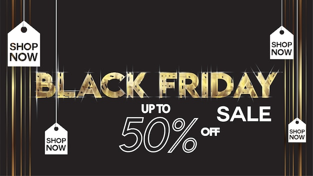 Vendredi noir vente bannière mise en page conception fond noir et or offre de réduction de 50%