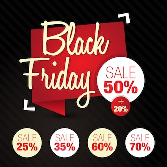 Vendredi noir (vente, remise, rabais) 50%, 25%, 35%, 60%, 70%