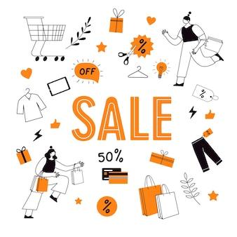 Vendredi noir. ventes et remises en magasin. caractères linéaires avec des sacs en papier, avec des achats.