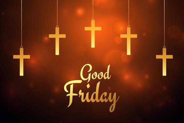 Vendredi saint carte de voeux croix suspendue