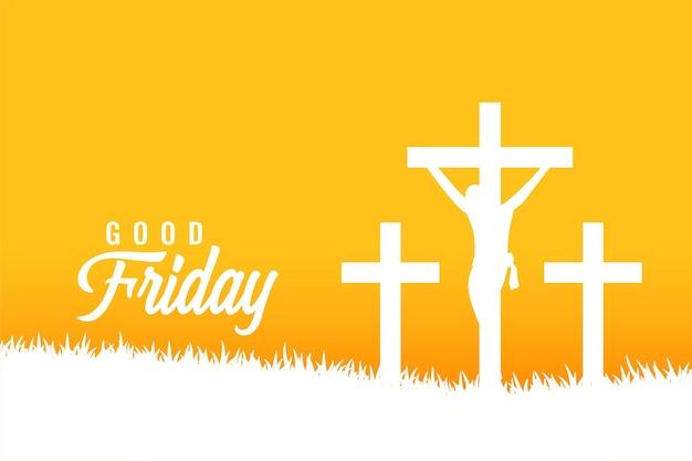 Vendredi saint carte de voeux jaune avec des croix