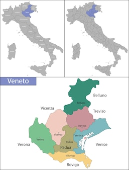 La vénétie est l'une des vingt régions administratives d'italie, au nord-est du pays