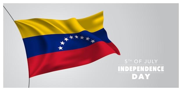 Venezuela joyeux jour de l'indépendance carte de voeux bannière illustration horizontale