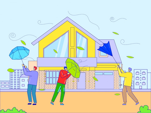 Vent fort de catastrophe qui souffle sur l'homme, illustration. parapluie de personnages de dégâts de tempête, ouragan naturel dangereux