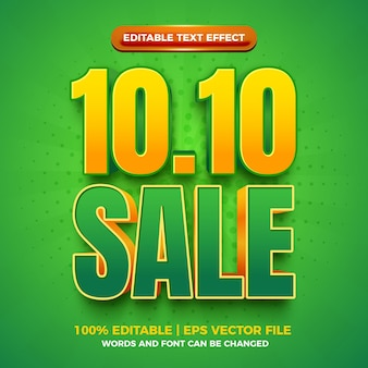 Vente 10 10 effet de texte modifiable en gras vert 3d