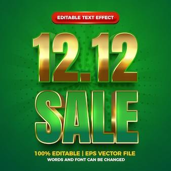 Vente 12 12 effet de texte modifiable en gras or vert 3d