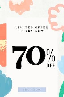 Vente 70 pourcentage de réduction sur fond floral de promotion