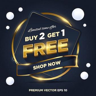 Vente abstraite d'or bleu foncé offre à durée limitée achetez 2 designs gratuits 1 tags