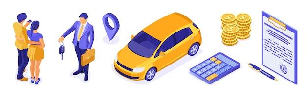 Vente, achat, assurance, location de voiture isométrique pour atterrissage, publicité avec voiture, couple, agent immobilier, assureur, clé. location de voitures, covoiturage, covoiturage.