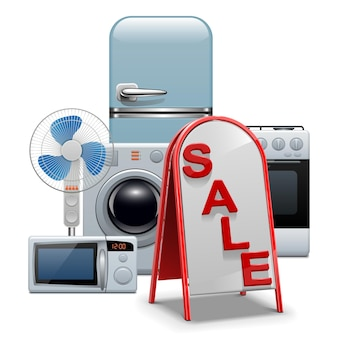 Vente d'appareils ménagers isolé sur blanc