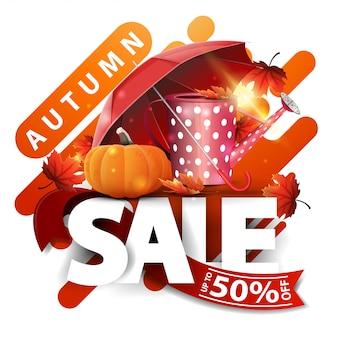 Vente d'automne, bannière de remise moderne avec arrosoir de jardin