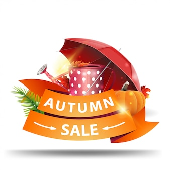 Vente d'automne, bannière web à prix réduit sous forme de rubans