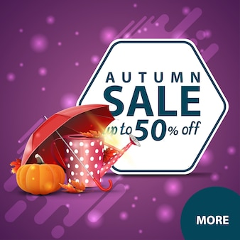 Vente d'automne, bannière web de remise carrée avec arrosoir de jardin