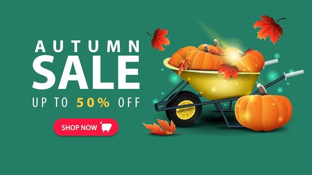 Vente d'automne, bannière web vert discount dans un style minimaliste