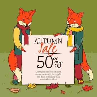 Vente d'automne design dessiné à la main