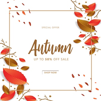 Vente d'automne avec fond de branche et de feuille
