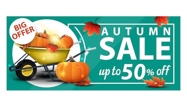 Vente d'automne, jusqu'à 50% de réduction, bannière verte avec web discount et brouette de jardin