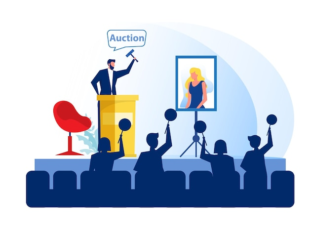 Vente aux enchères d'affaires vendant de la peinture de portrait avec des gens offrent illustration