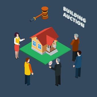 Vente aux enchères de bâtiments isométrique