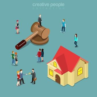 Vente aux enchères de biens immobiliers isométrique plat