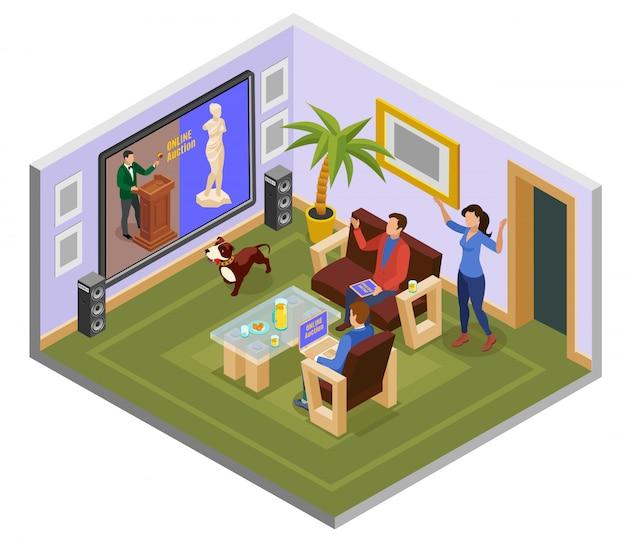 Vente aux enchères composition isométrique avec l'homme sur le canapé à la maison