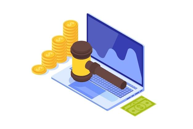 Vente aux enchères en ligne sur internet, concept isométrique du commerce international. illustration vectorielle