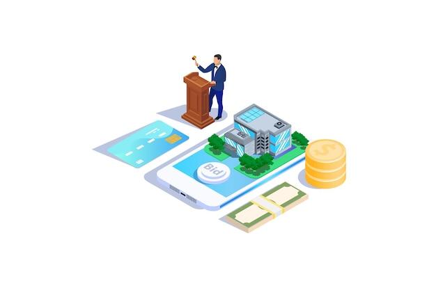 Vente aux enchères de maisons isométriques illustration de vente aux enchères en ligne